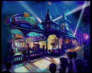 Artist rendering of Toy Story Midway Mania! at night.  As seen on Disneyland CastTV.