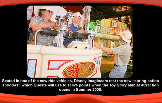 Toy Story Midway Mania ride vehicle testing.  From ToyStoryMania.com