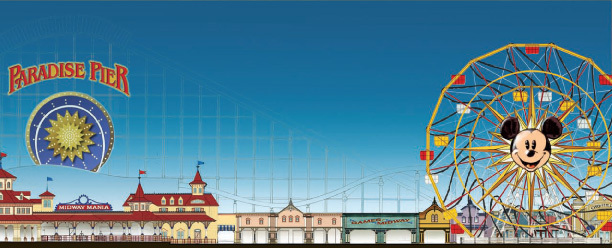 Elevation study of Paradise Pier re-theming.  Copyright Disney.