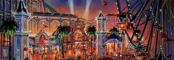Artist rendering of Paradise Pier re-theme.  Copyright Disney.