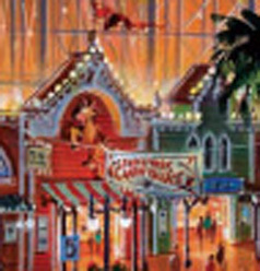 "Close-up of artist rendering of Paradise Pier re-theme - note Bullseye from ""Toy Story"" on building facade.  Copyright Disney."