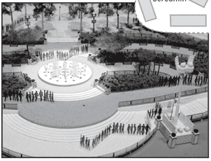 Model of World of Color viewing area.  Image from Orange County Register / Disney.