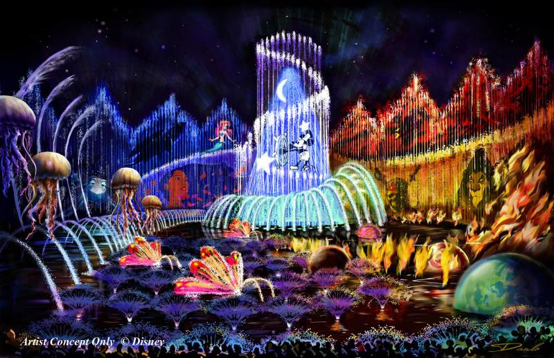 World of Color nighttime water show in Paradise Bay.