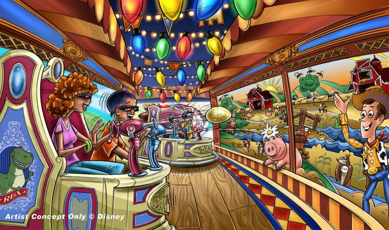 Toy Story Midway Mania concept rendering.  Copyright Disney.