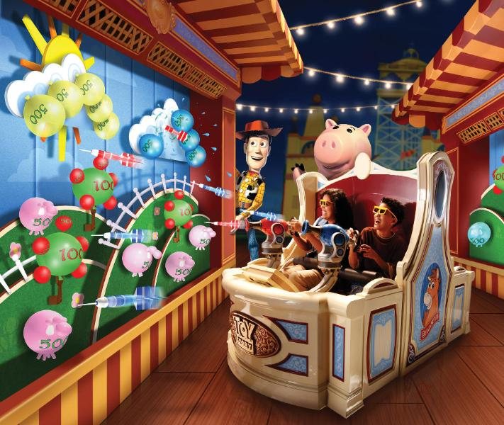 Publicity image for Toy Story Midway Mania attraction.