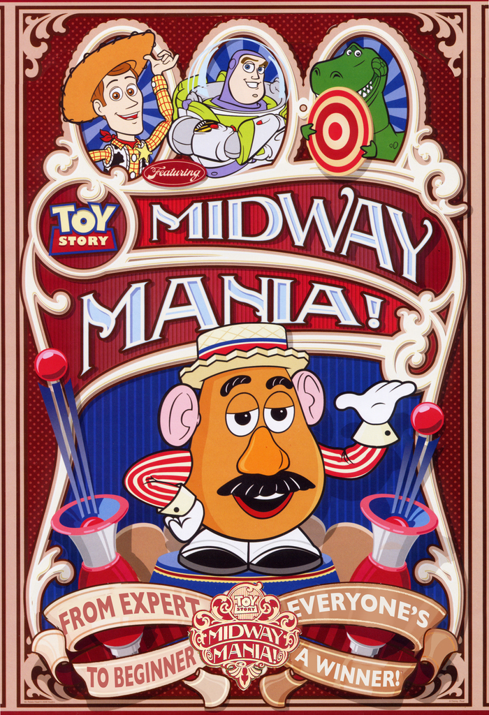 Toy Story Midway Mania attraction poster.  Copyright Disney.