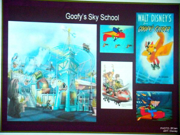 Photo of Disney concept art of Goofy's Sky School.