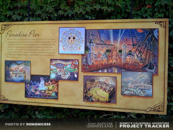 Photo of Paradise Pier signage on exterior of Walt Disney Imagineering Blue Sky Cellar at California Adventure.  Photo by ROBONICS95.