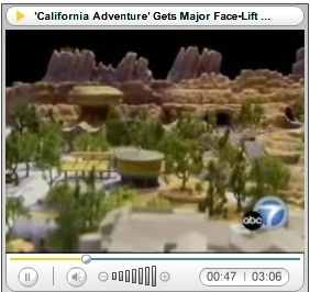 Close-up of Radiator Springs Racers model overview as seen on ABC7.