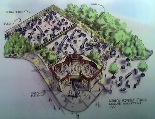 Artist rendering of Luigi's Roamin Tires attraction overview as seen on the LA Times Funland blog. Copyright Disney.