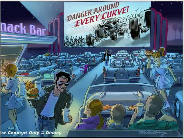 Carsland Drive-In artist rendering.  Copyright Disney.