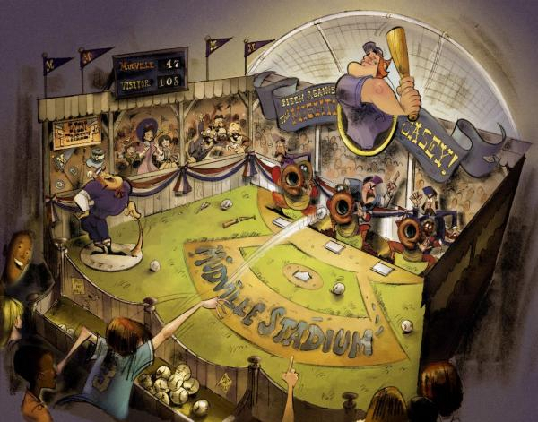Concept rendering - Games of the Boardwalk - Casey at the Bat game - � Disney