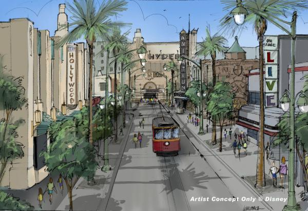 Artist rendering - Remodel of Hollywood Pictures Backlot, including Red Car Trolley.  � Disney
